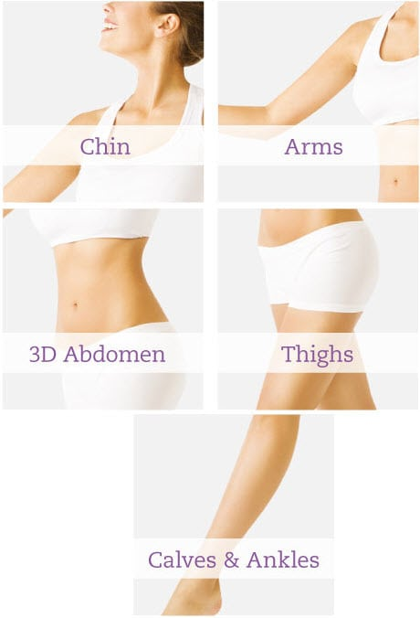 Areas We Treat - Chin, Arms, Abdomen, Thighs, Calves, Ankles